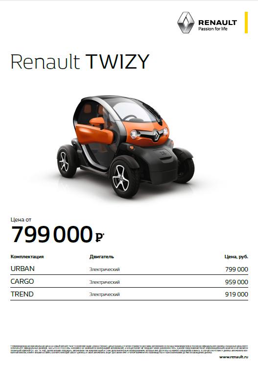базовая комплектация и цена twizy